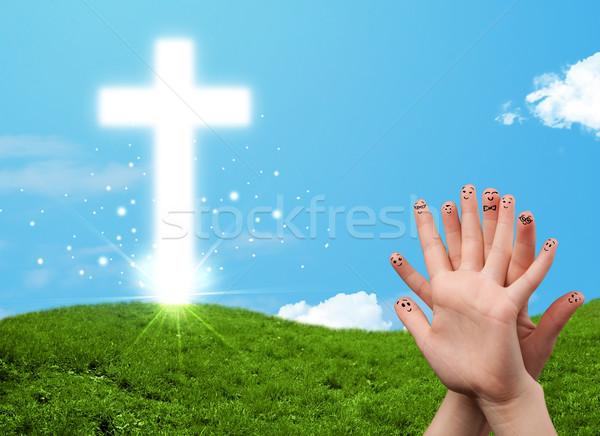Happy finger smileys with christian religion cross Stock photo © ra2studio