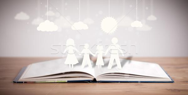 Karton család kinyitott könyv szimbólum egység Stock fotó © ra2studio
