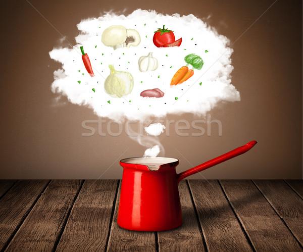 Stock photo: Vegetables in vapor cloud