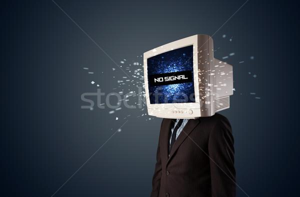 Foto d'archivio: Uomo · monitor · testa · no · segnale · segno