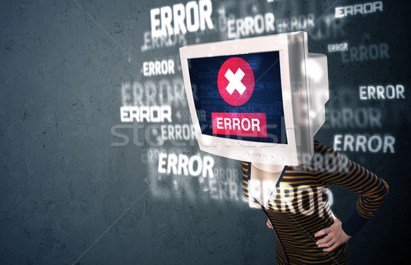 Női monitor fej hiba feliratok kirakat Stock fotó © ra2studio