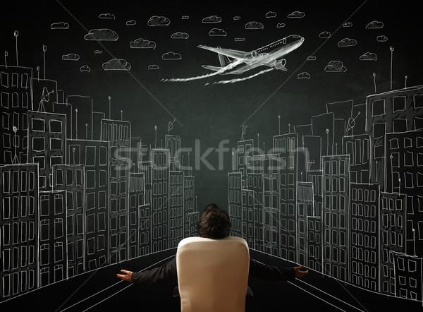 ビジネスマン 座って 景観 図面 小さな 事務椅子 ストックフォト © ra2studio