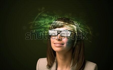 Mulher de negócios olhando alto tecnologia número computador Foto stock © ra2studio