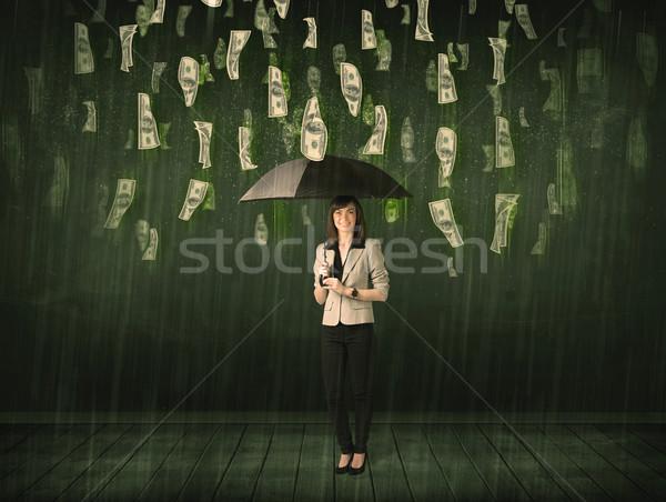 üzletasszony áll esernyő dollár számla eső Stock fotó © ra2studio