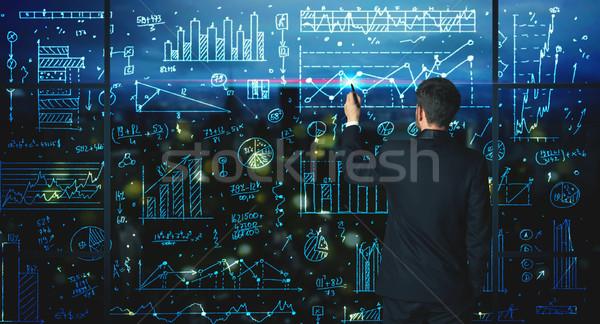 Dessin affaires statistiques affaires verre mur Photo stock © ra2studio