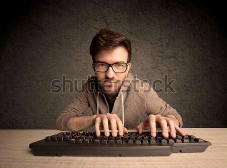 компьютер geek набрав клавиатура молодые хакер Сток-фото © ra2studio