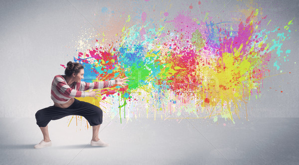 Jonge kleurrijk straat danser verf splash Stockfoto © ra2studio