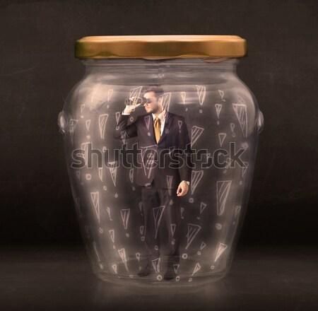 Zakenman gevangen jar business glas triest Stockfoto © ra2studio