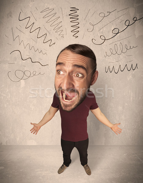 Big head person with curly lines Stock photo © ra2studio