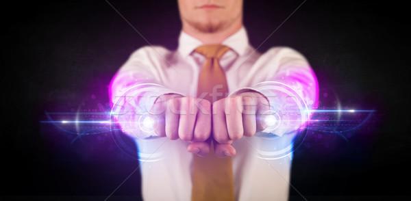 üzletember tart jövő technológia adat hálózat Stock fotó © ra2studio