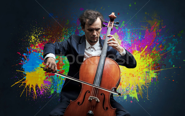Composer with splotch and his cello Stock photo © ra2studio