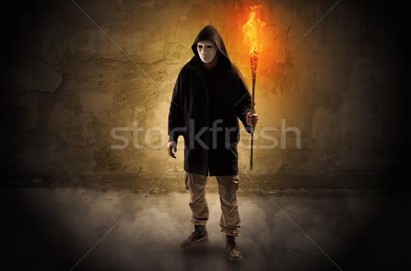 égő zseblámpa fal csúnya kéz férfi Stock fotó © ra2studio