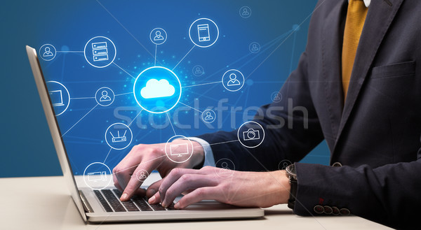 Hand typing with cloud technology system concept Stock photo © ra2studio