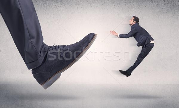Kicsi üzletember nagy cipő munkahely férfi Stock fotó © ra2studio