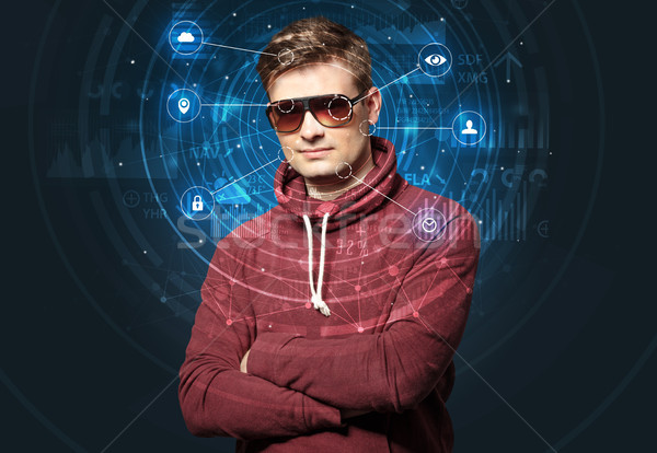 Facial recognition biometric technology Stock photo © ra2studio
