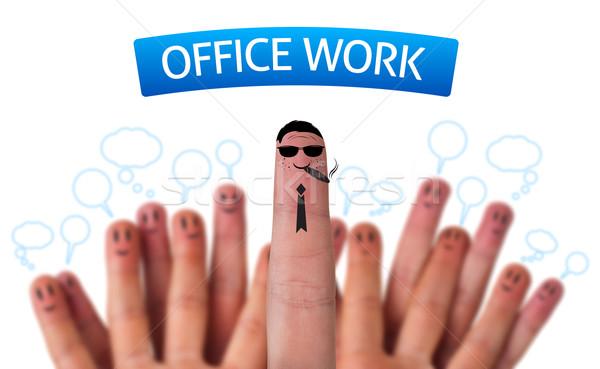 Mutlu grup parmak suratlar ofis işleri ikon Stok fotoğraf © ra2studio