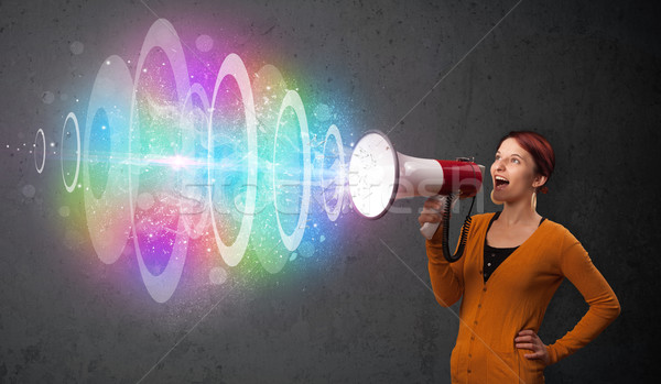 Stockfoto: Cute · jong · meisje · luidspreker · kleurrijk · energie · balk