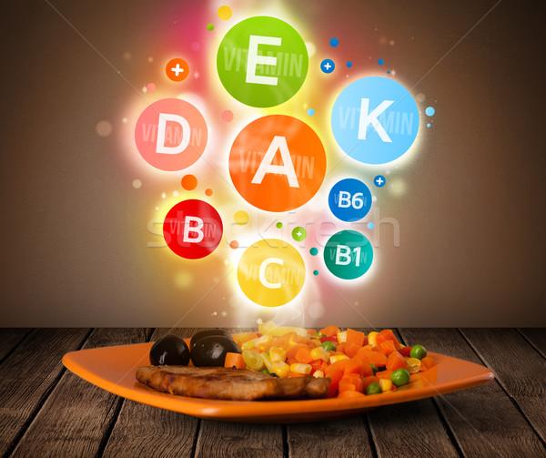 Zdjęcia stock: żywności · tablicy · posiłek · zdrowych · witamina