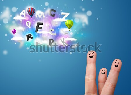 Happy cheerful smiley fingers looking at colorful magical clouds and balloons illustration Stock photo © ra2studio