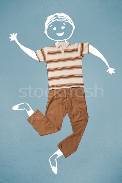 Funny cute smiley character in casual clothes Stock photo © ra2studio