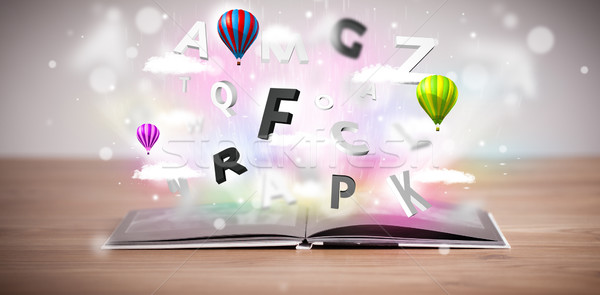 Foto d'archivio: Libro · aperto · battenti · 3D · lettere · concrete · colorato
