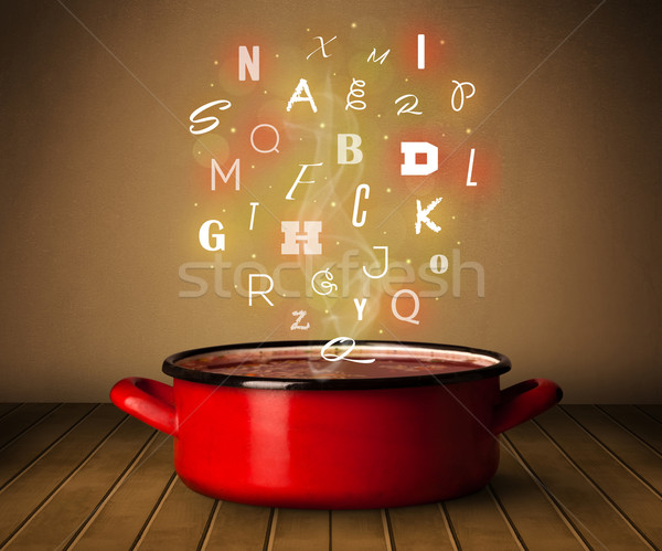 Glowing letters coming out from cooking pot Stock photo © ra2studio