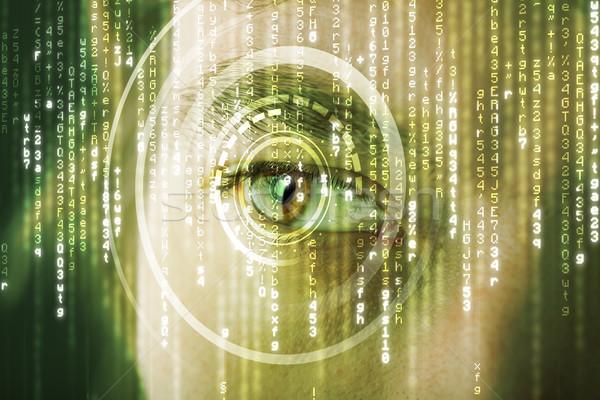 Stock photo: Modern cyber soldier with target matrix eye