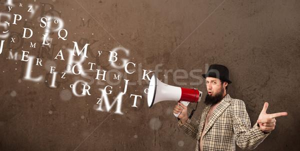 ストックフォト: 男 · シャツ · メガホン · 文字