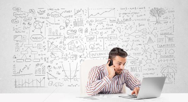 Empresário planejamento negócio idéias jovem Foto stock © ra2studio