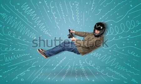 смешные парень мнимый автомобиль линия Сток-фото © ra2studio