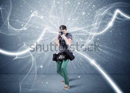 Profi fotós dinamikus vonalak fiatal amatőr Stock fotó © ra2studio