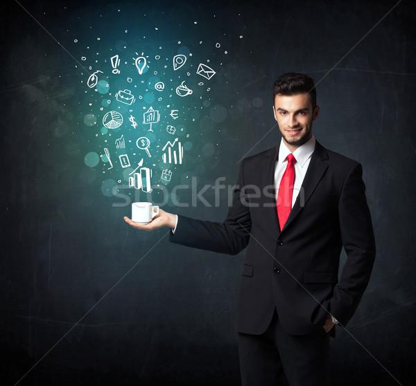 Empresário branco copo negócio ícones Foto stock © ra2studio