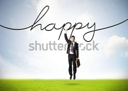 Stockfoto: Opknoping · zakenman · gelukkig · touw · hand · achtergrond