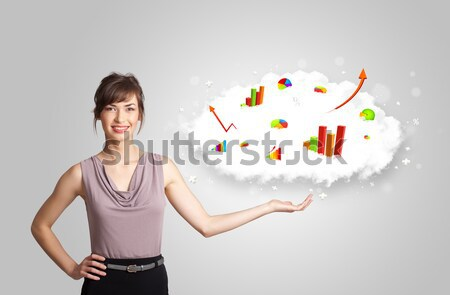 Fiatal nő bemutat felhő grafikonok táblázatok technológia Stock fotó © ra2studio