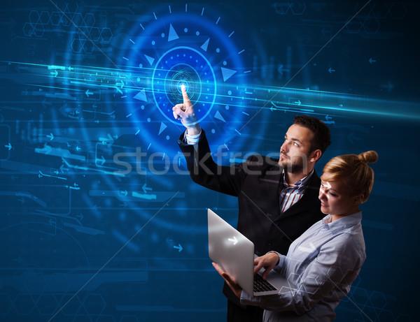 小さな ハイテク カップル ハイテク コントロールパネル ストックフォト © ra2studio