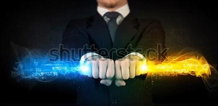 Hombre colorido datos manos Foto stock © ra2studio