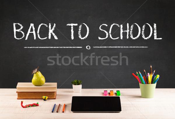 Duży powrót do szkoły piśmie tablicy litery biurko Zdjęcia stock © ra2studio