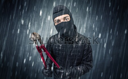 Armed hitman in dark nocturnal forest concept Stock photo © ra2studio