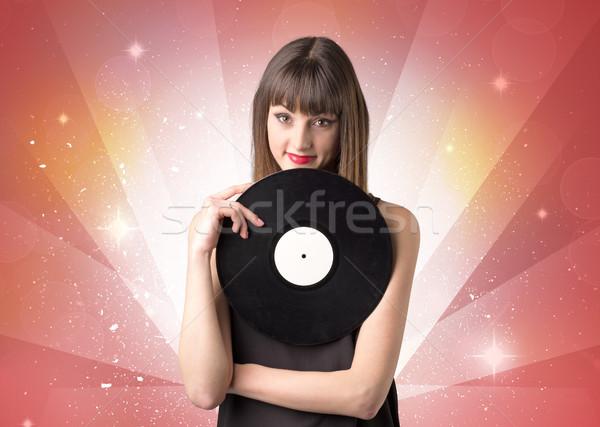 Senhora vinil registro jovem vermelho Foto stock © ra2studio