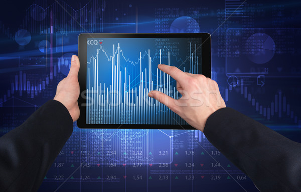 Hand using tablet and checking financial report concept Stock photo © ra2studio