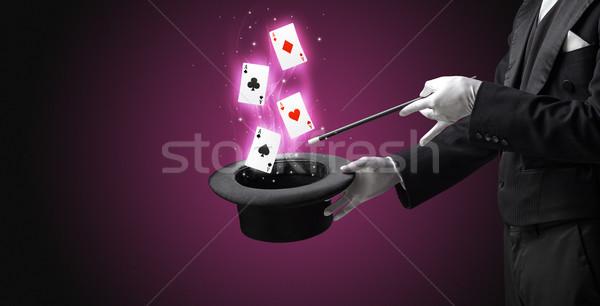 Goochelaar truc speelkaarten witte handschoenen Stockfoto © ra2studio