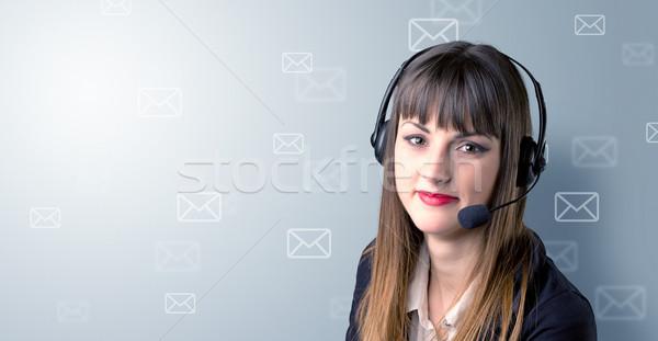 Stock photo: Female telemarketer c