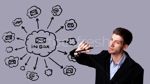 бизнесмен Дать электронная почта схема молодые Сток-фото © ra2studio