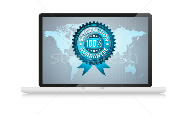 Stock photo: satisfation guarantee label in laptop
