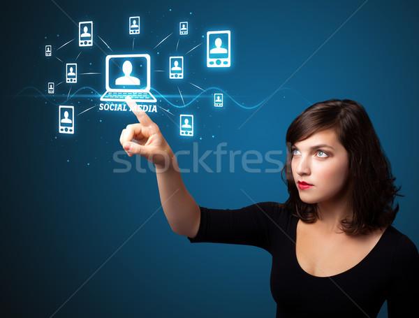 деловая женщина современных социальной тип иконки Сток-фото © ra2studio