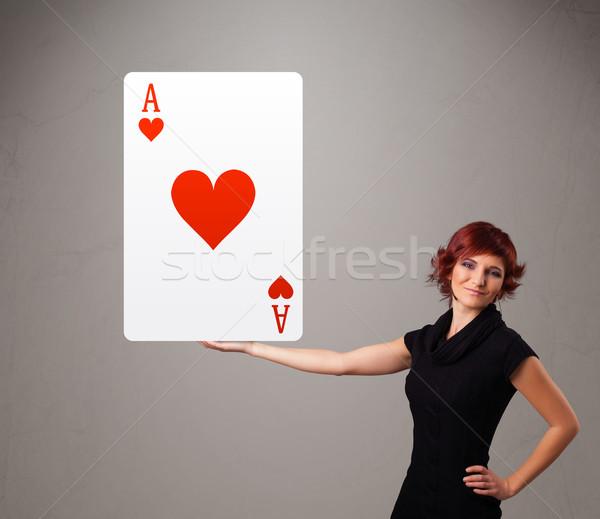 Mujer rojo corazón as Foto stock © ra2studio