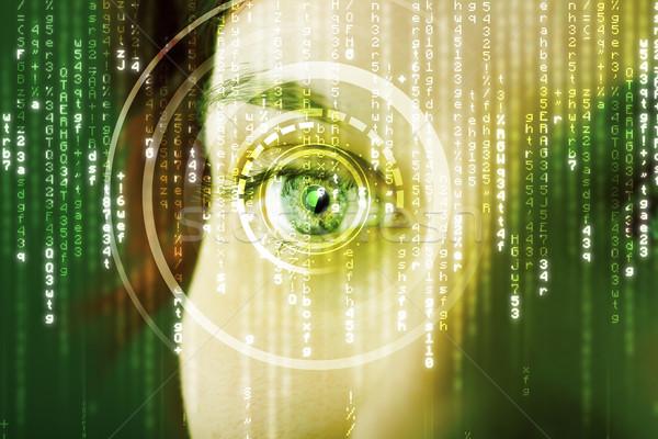 Moderne vrouw matrix oog abstract technologie Stockfoto © ra2studio