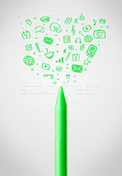 Crayon close-up with social media icons Stock photo © ra2studio