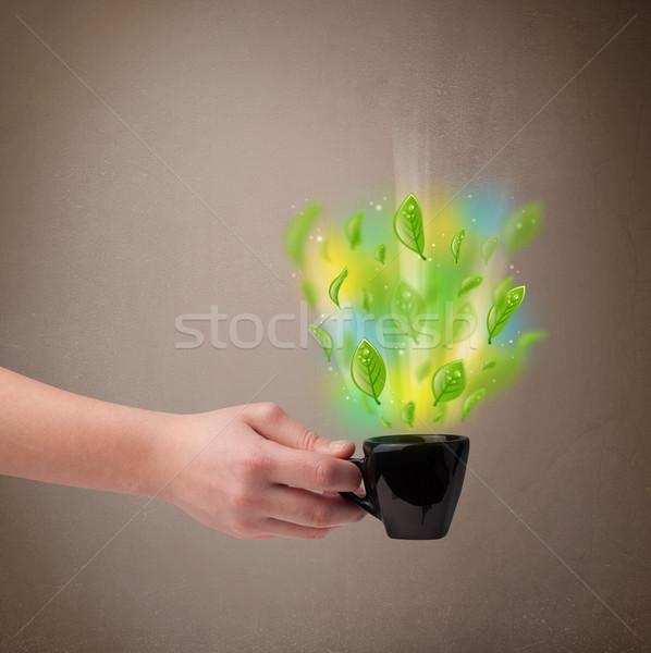Teáscsésze levelek színes absztrakt fények közelkép Stock fotó © ra2studio