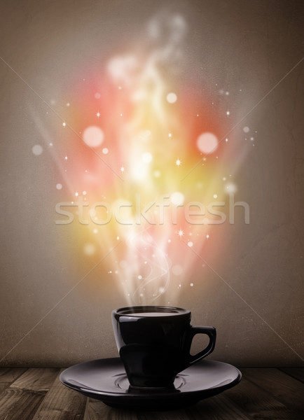 Caneca de café abstrato vapor colorido luzes Foto stock © ra2studio